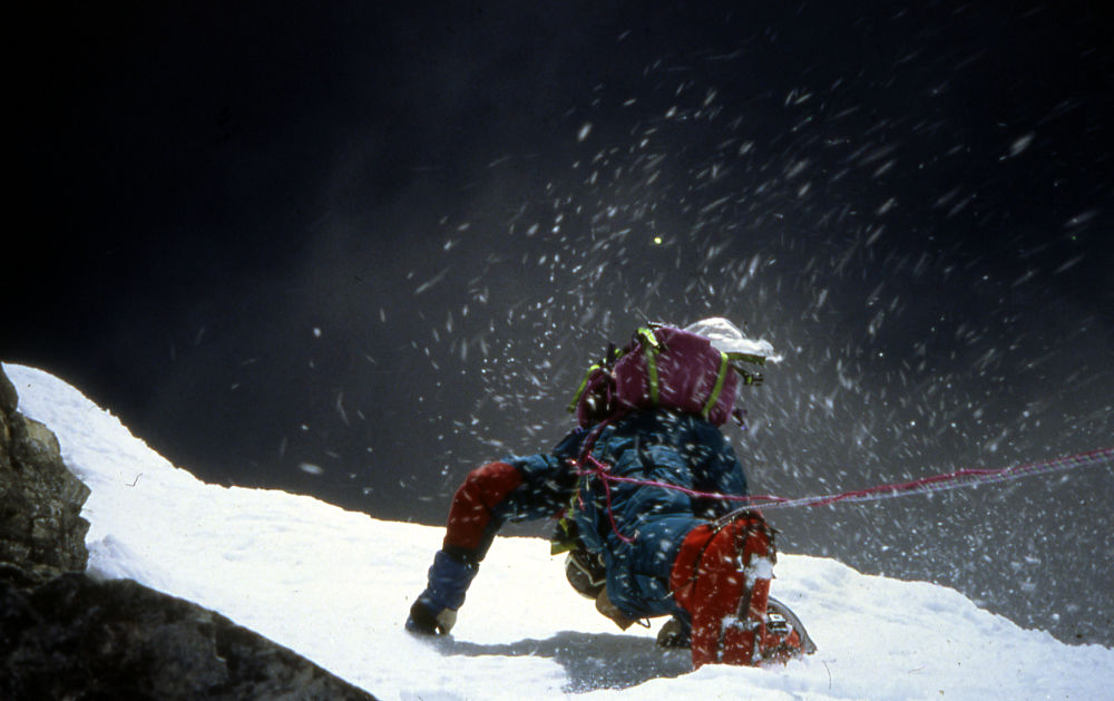 Everest 1991, el escalón de Hilary. Foto: archivo de Lorenzo Ortas